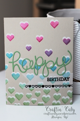 Crazy About You Hearts Stencil Birthday Card 1