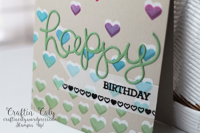 Crazy About You Hearts Stencil Birthday Card