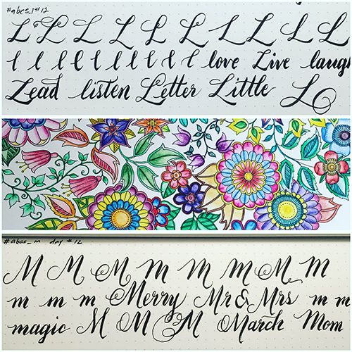 Brush Calligraphy Practice L and M