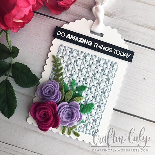MFT - Stitched Felt Floral Tag 1